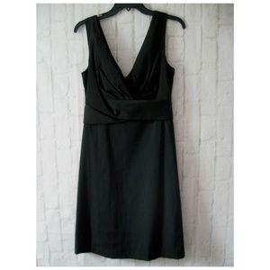 WHBM Matte Black Wrap Top Stretch Dress Size 6